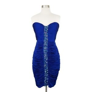 JS Boutique Blue Ruched Strapless Rhinestone Dress